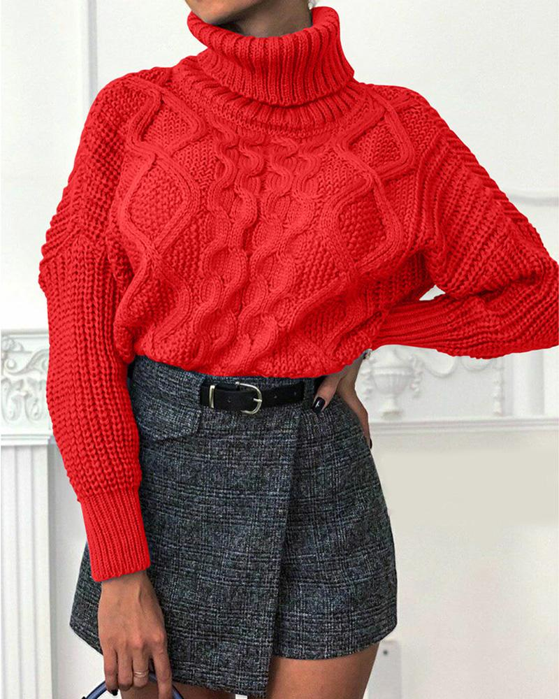 High Neck Solid Cable Knit Sweater thumbnail