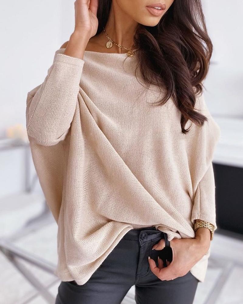 Knitting Long Sleeve Basic Sweater