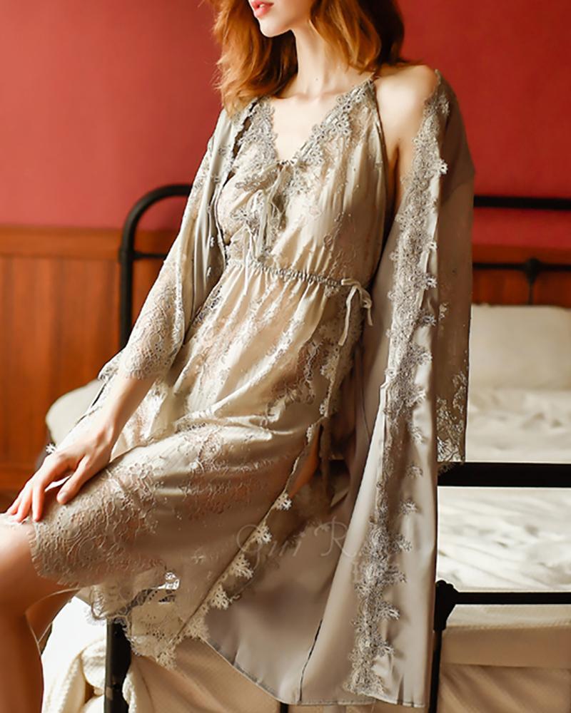 V-neck Eyelash Lace Tie Front Slit Dress thumbnail