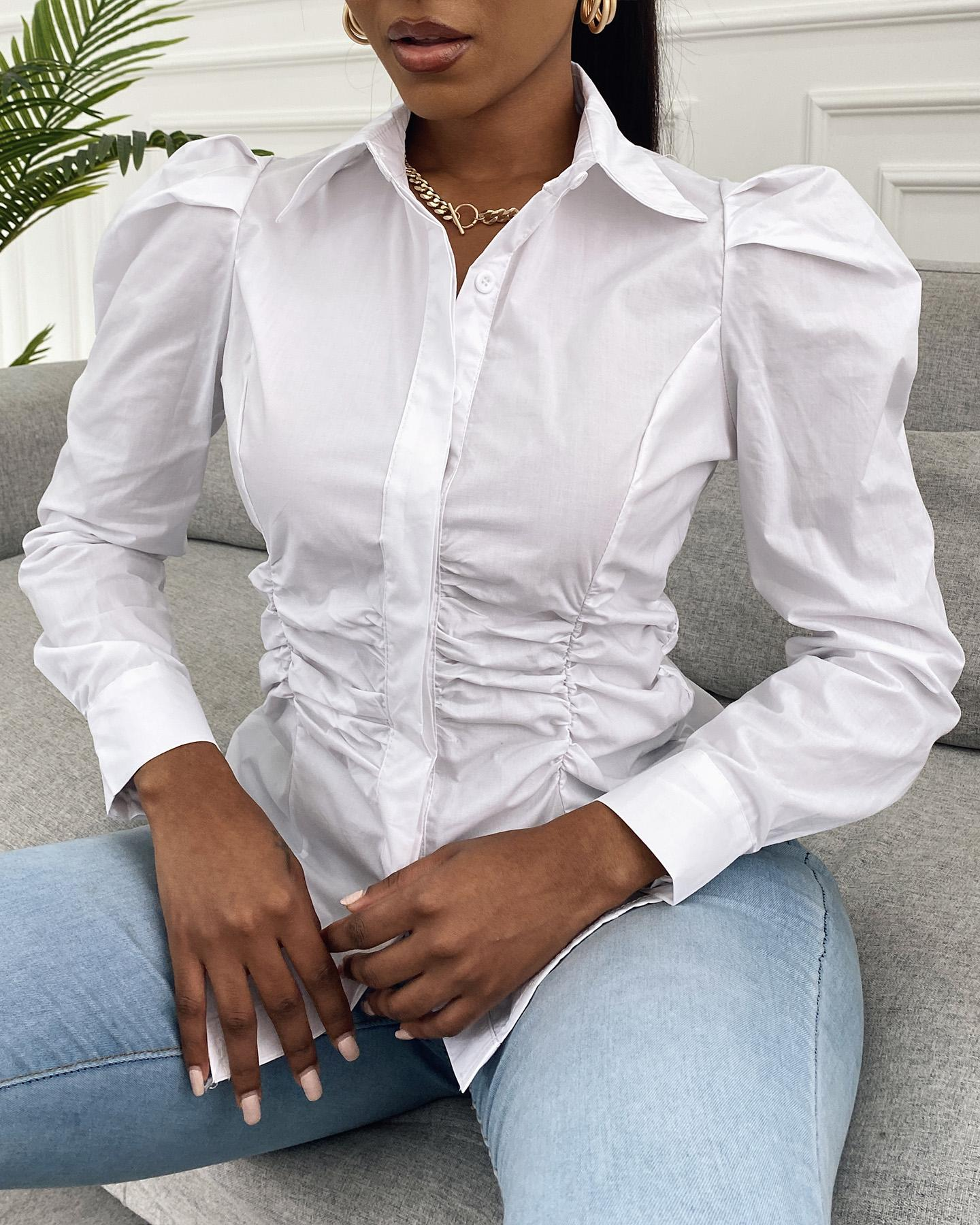 Puffed Sleeve Long Sleeve Shirt