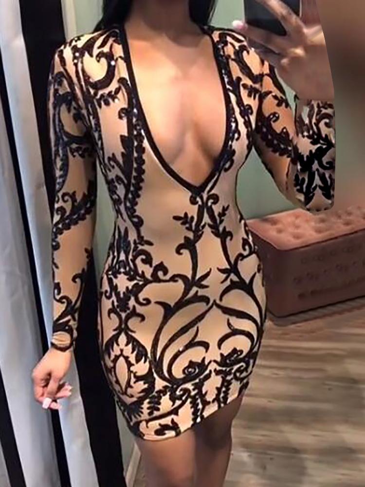 Deep V Digital Print Sheath Party Dress