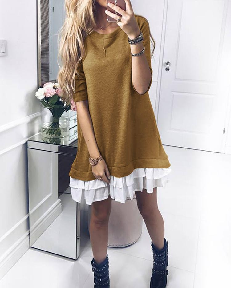 Patchwork Ruffles Hem Loose Sweatshirt Dress