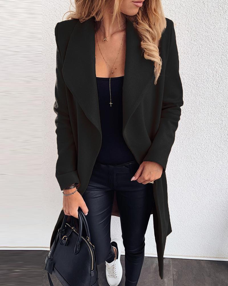 Plain Long Sleeve Casual Longline Coat