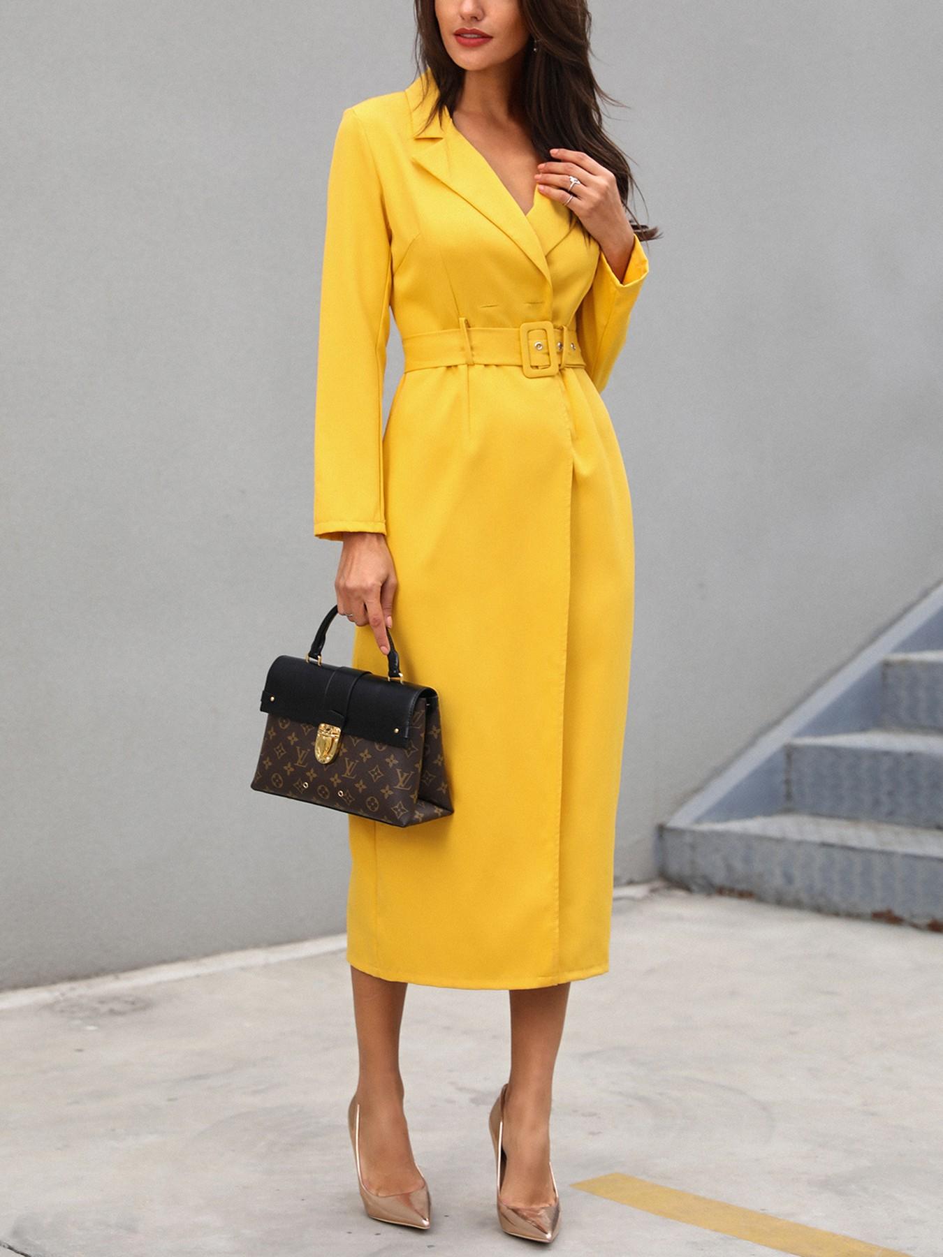 boutiquefeel / Solid Self Belted Slit Blazer Dress