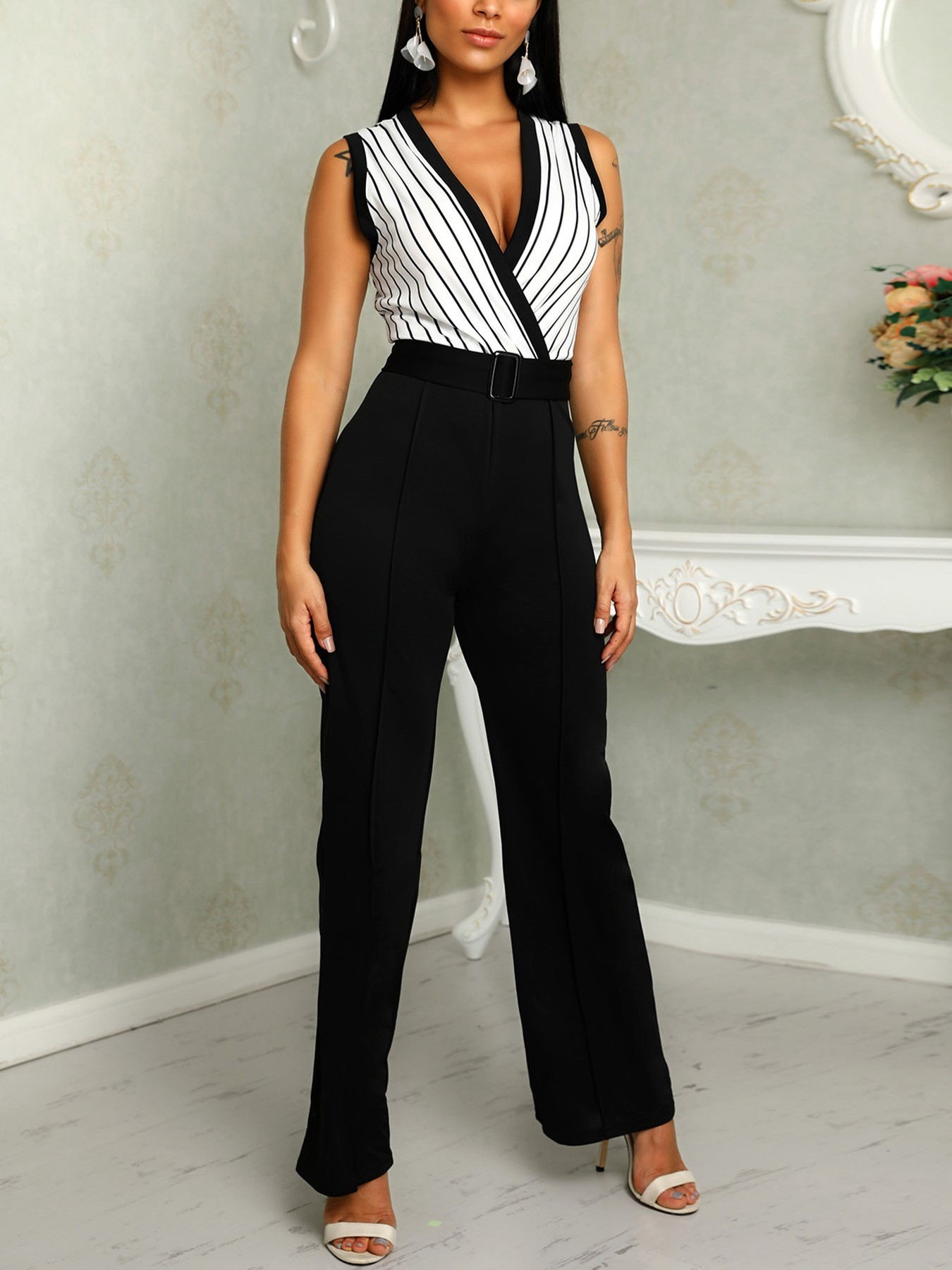 boutiquefeel / Sleeveless Striped Wrap Belted Bodycon Jumpsuits