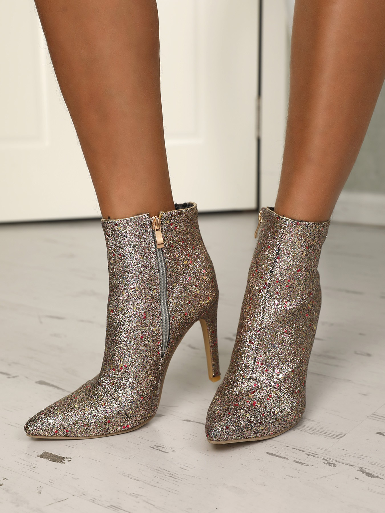 boutiquefeel / Sequins Side Zipper Pointed Toe Heeled Boots