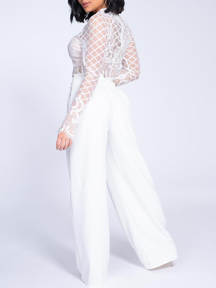 boutiquefeel / Sheer Lace Top & Wide Leg Pant Sets