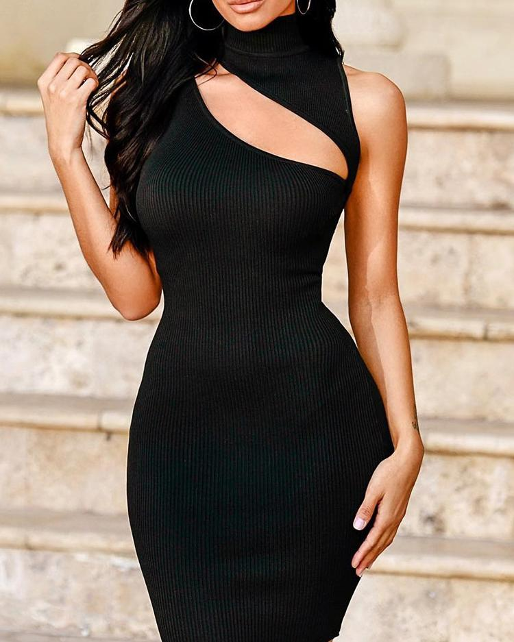 One Shoulder Cutout Front Bodycon Dress