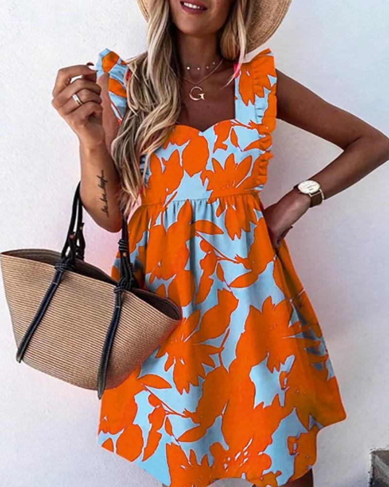 Flutter Sleeve Floral Print Dress thumbnail