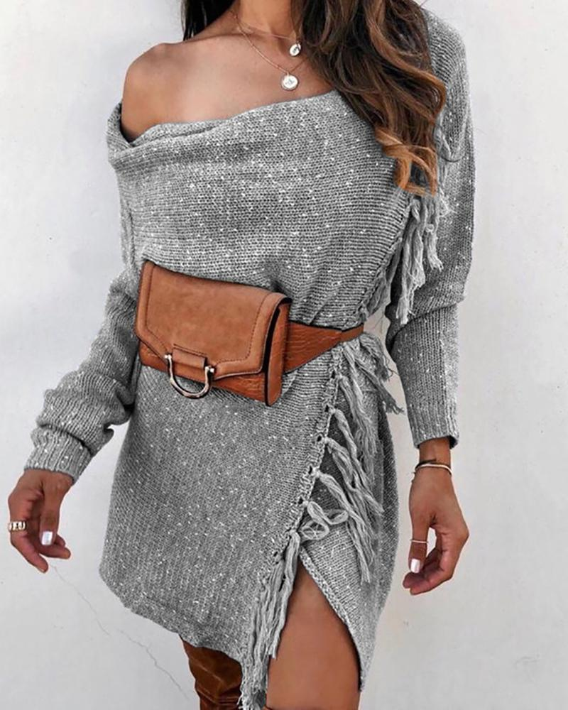 Solid One Shoulder Tassel Design Sweater Coat thumbnail