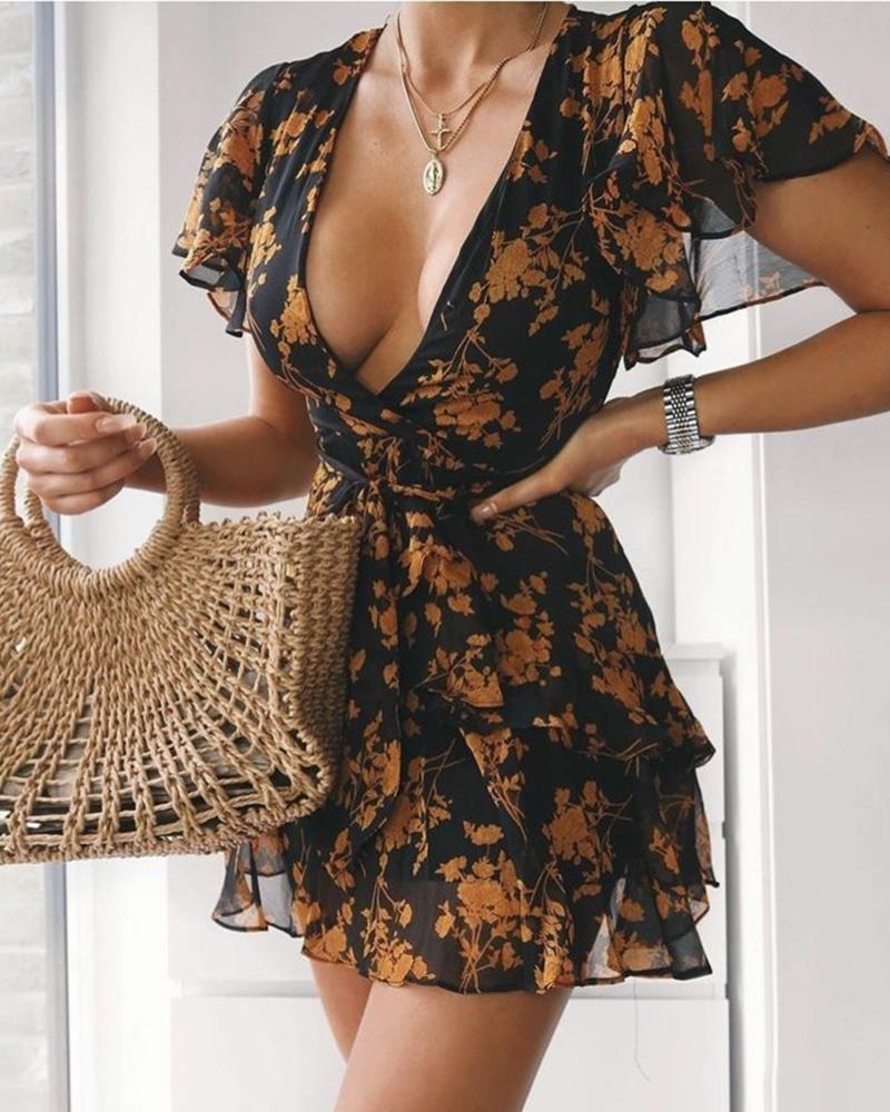 V-neck Floral Print Mini Dress