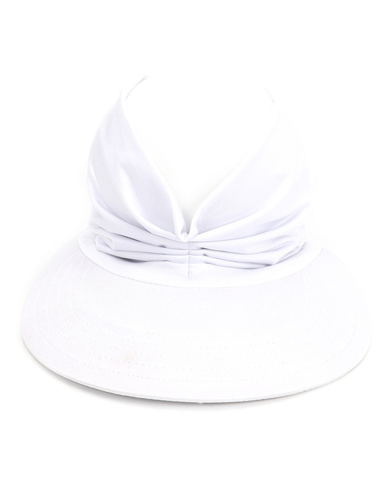 Beach Sunhat UV Protection Anti-UV Ponytail Beach Cap Visor Hat, White