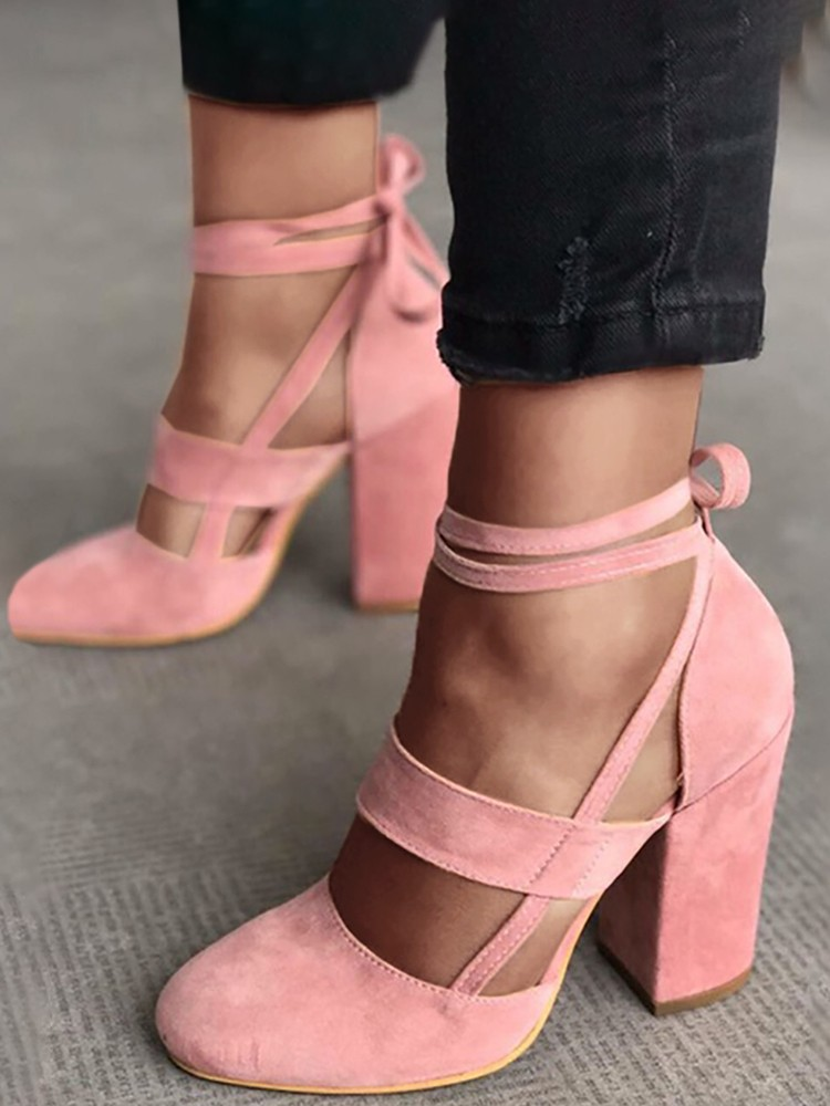c566c7a6a Shoespie Suede Ankle Strap Lace-Up Chunky Heel Gladiator Sandals