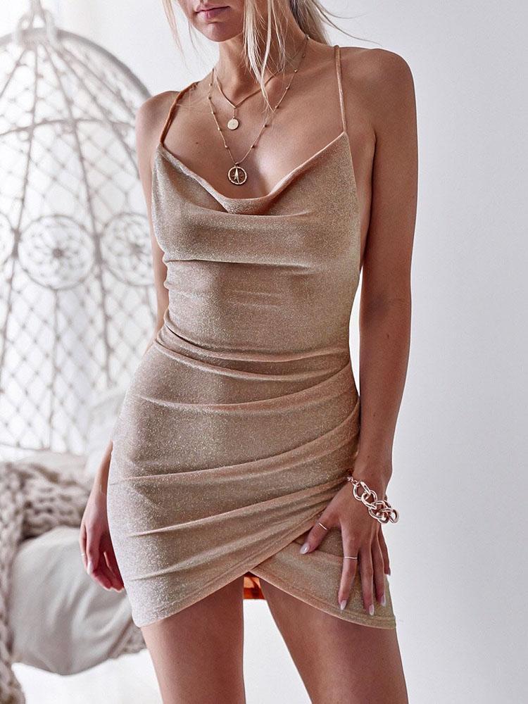 boutiquefeel / Glittering Drape Neck Scrunched Irregular Party Dress
