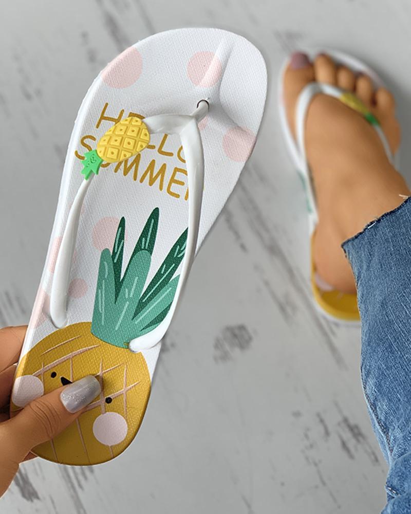 Pineapple Pattern Open Toe Flip Flops thumbnail