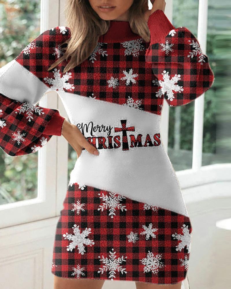 Christmas Print Lantern Sleeve Plaid Sweater Dress