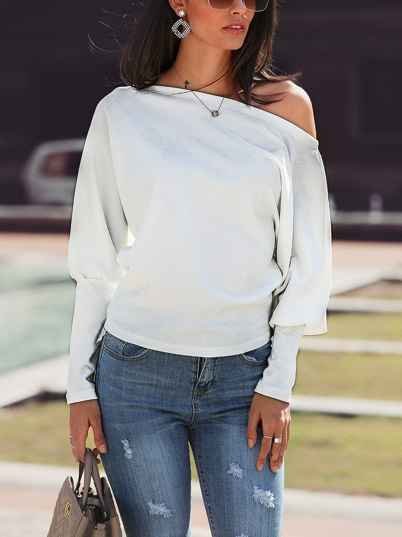 Solid Batwing Sleeve Casual Top