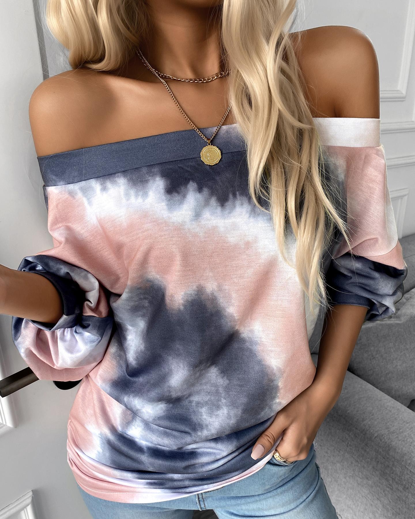 Tie Dye Print Off Shoulder Casual Top