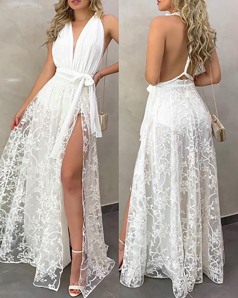 ivrose / Ruched Backless Lace High Slit Maxi Dress