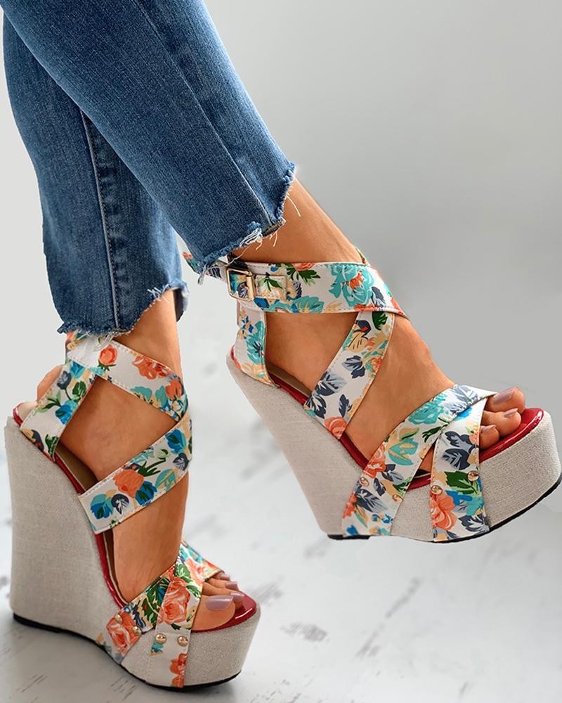 Floral Print Satin Bandage Wedge Sandals thumbnail