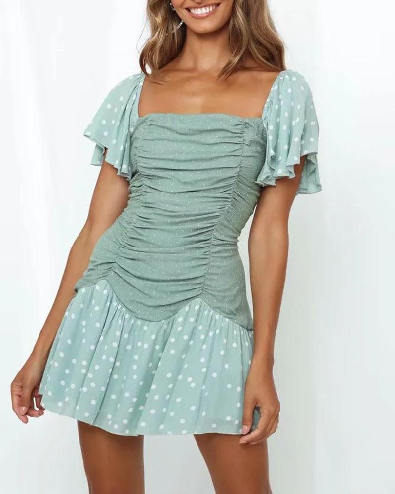 Polka Dot Square Neck Mini Dress thumbnail
