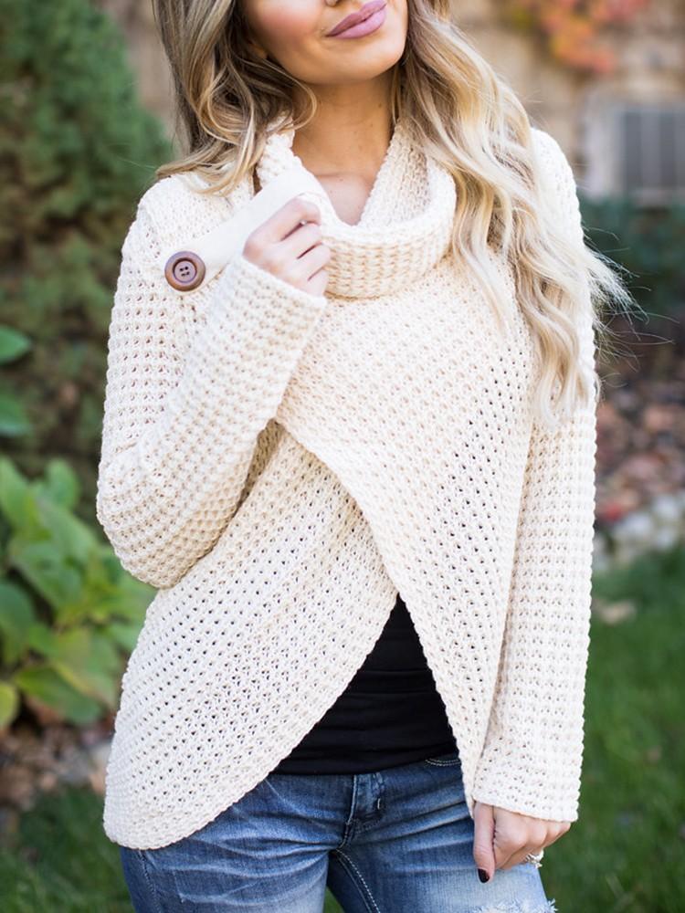 Trendy Crisscross Buttoned Cowl Neck Sweater
