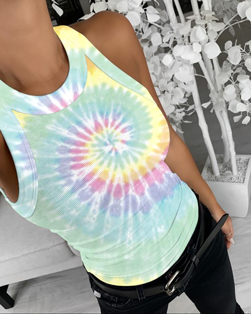 Tie Dye Print Sleeveless Casual Top thumbnail