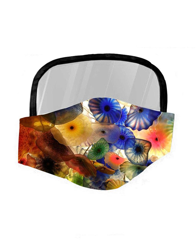 Floral Print Breathable Mouth Mask With Eyes Shield thumbnail