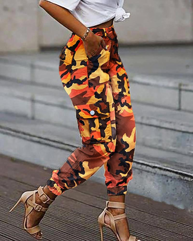 Camouflage Pockets Casual Cargo Pants thumbnail