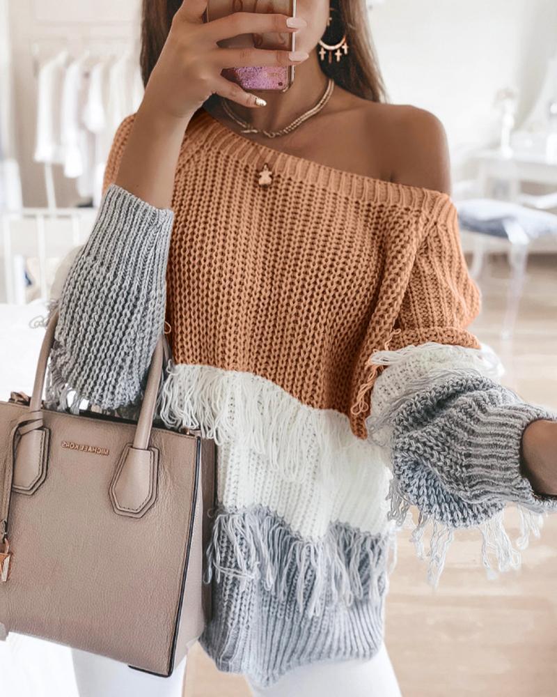 Colorblock Long Sleeve Loose Tassel Sweaters thumbnail