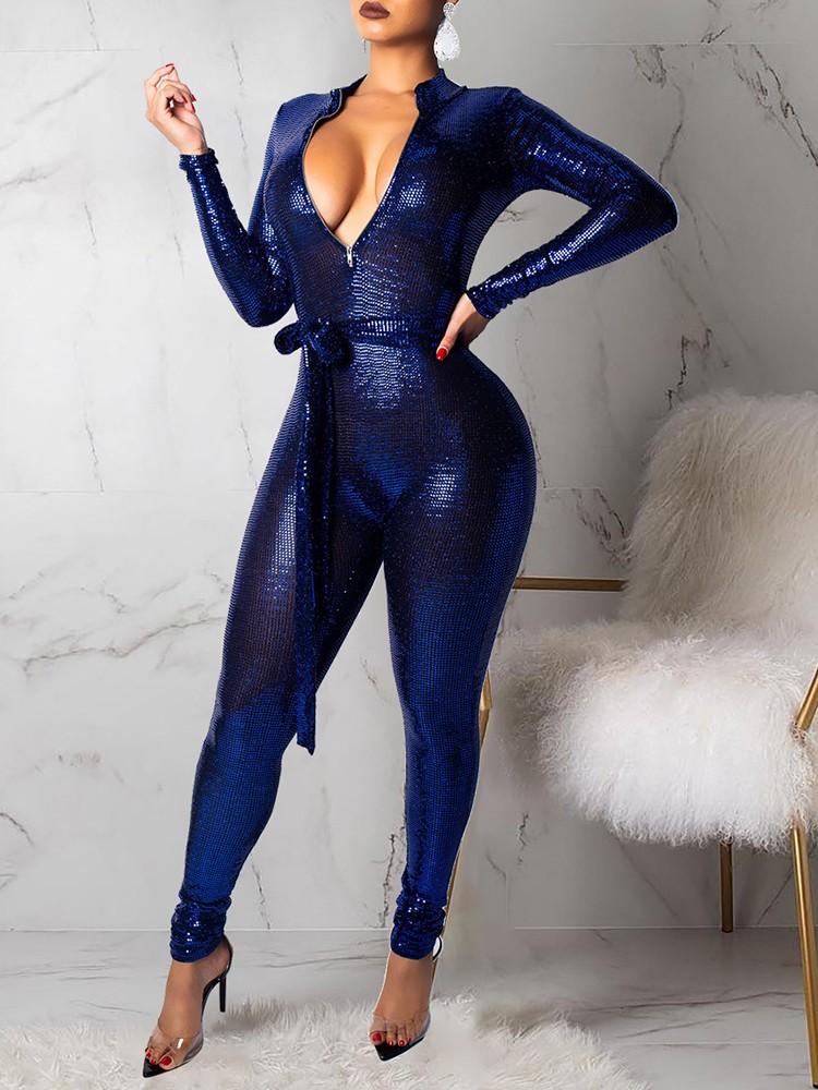 Glittering Plunge Belted Slinky Jumpsuit