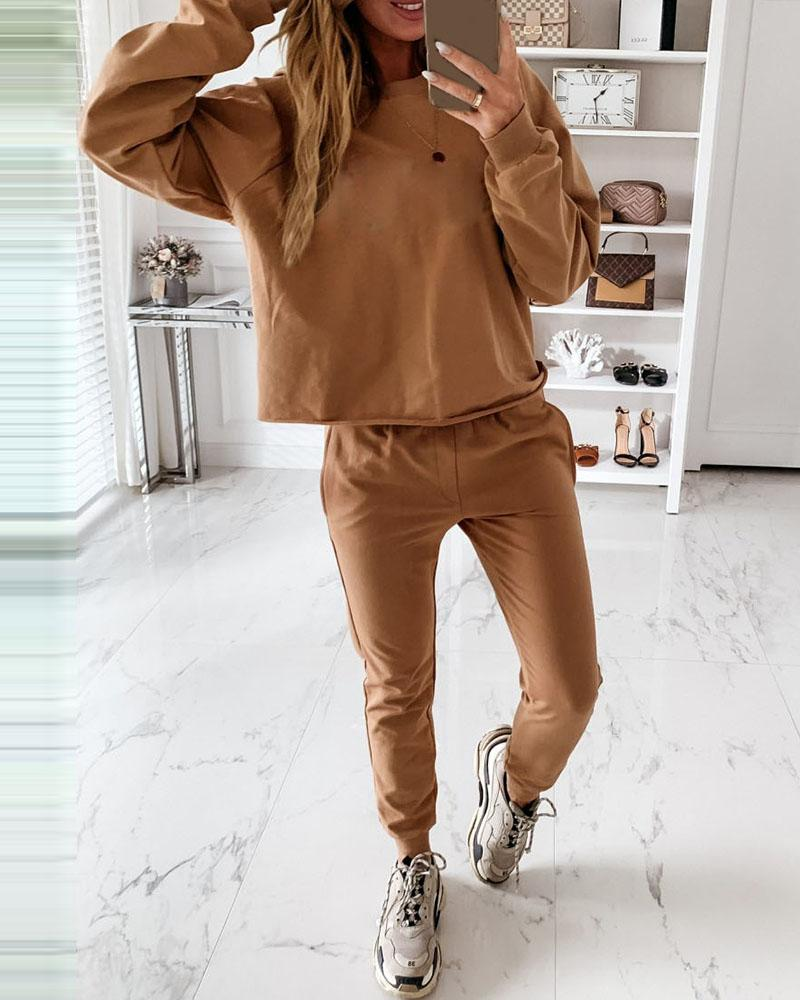 Solid Long Sleeve Top & Pocket Design Pants Set thumbnail