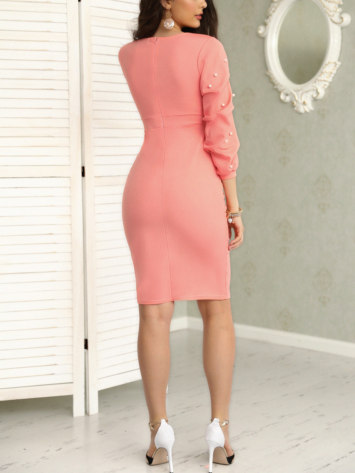 boutiquefeel / Beading Puff Sleeve Ruched Wrap Bodycon Dress