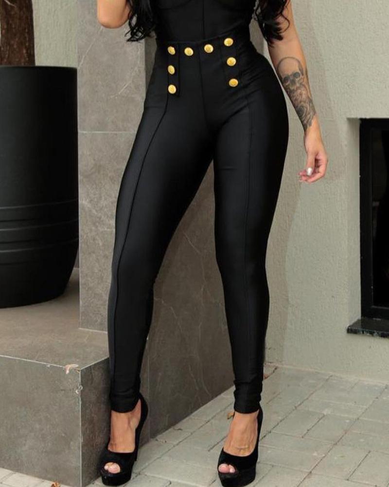 Plain High Waist Skinny Pants