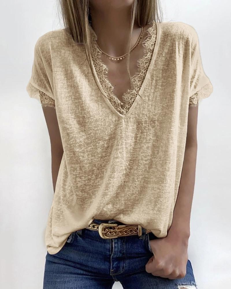 Eyelash Lace Trim V-neck Casual T-shirt thumbnail