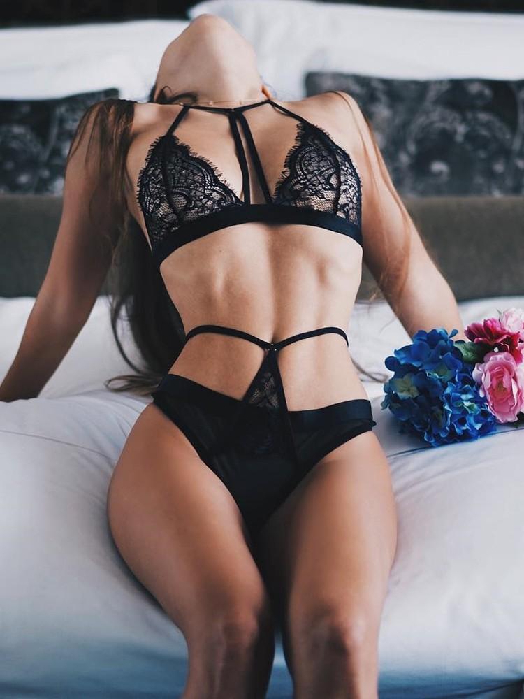 Sexy Eyelash Caged Sleeveless Lingerie Set by Ivrose