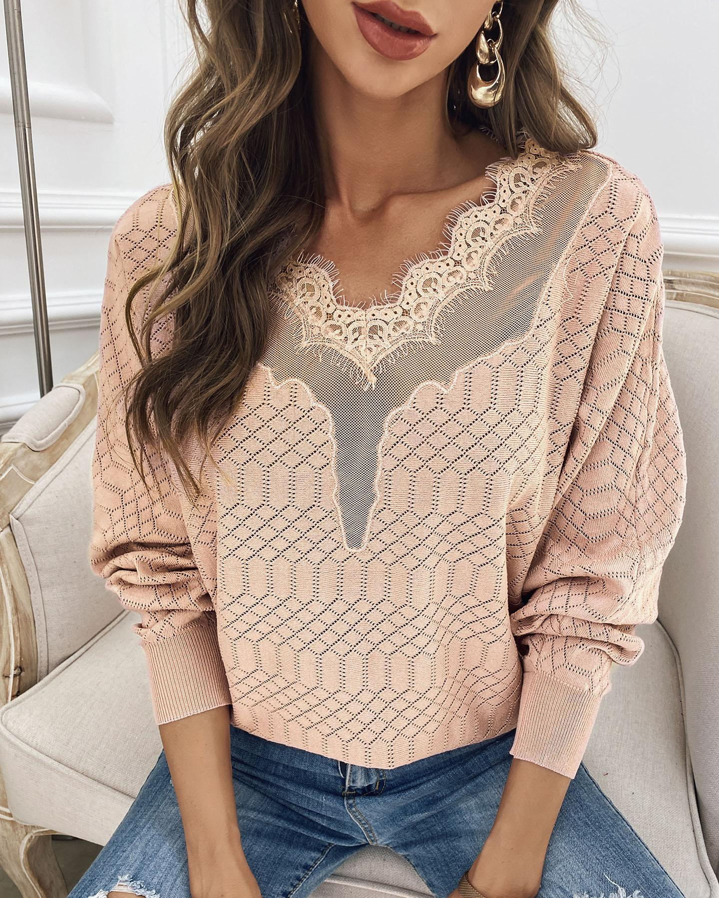 Lace Splicing Long Sleeve Hollow Out Sweater