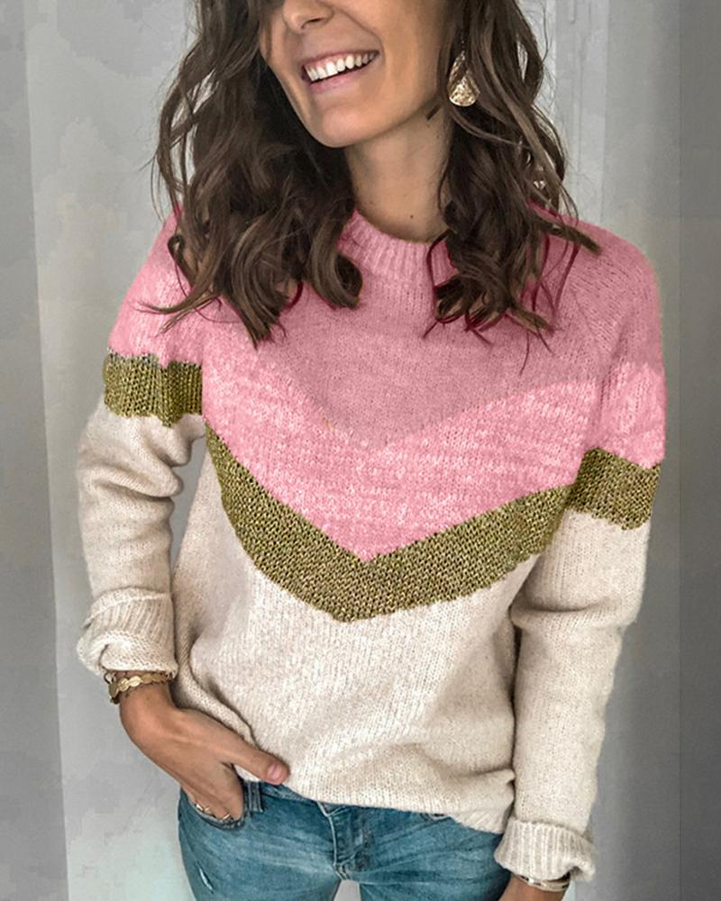 Casual Colorblock Round Neck Sweater thumbnail