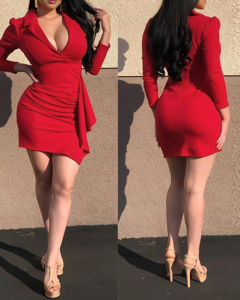 Plain Puff Sleeve Ruffle Hem Bodycon Dress