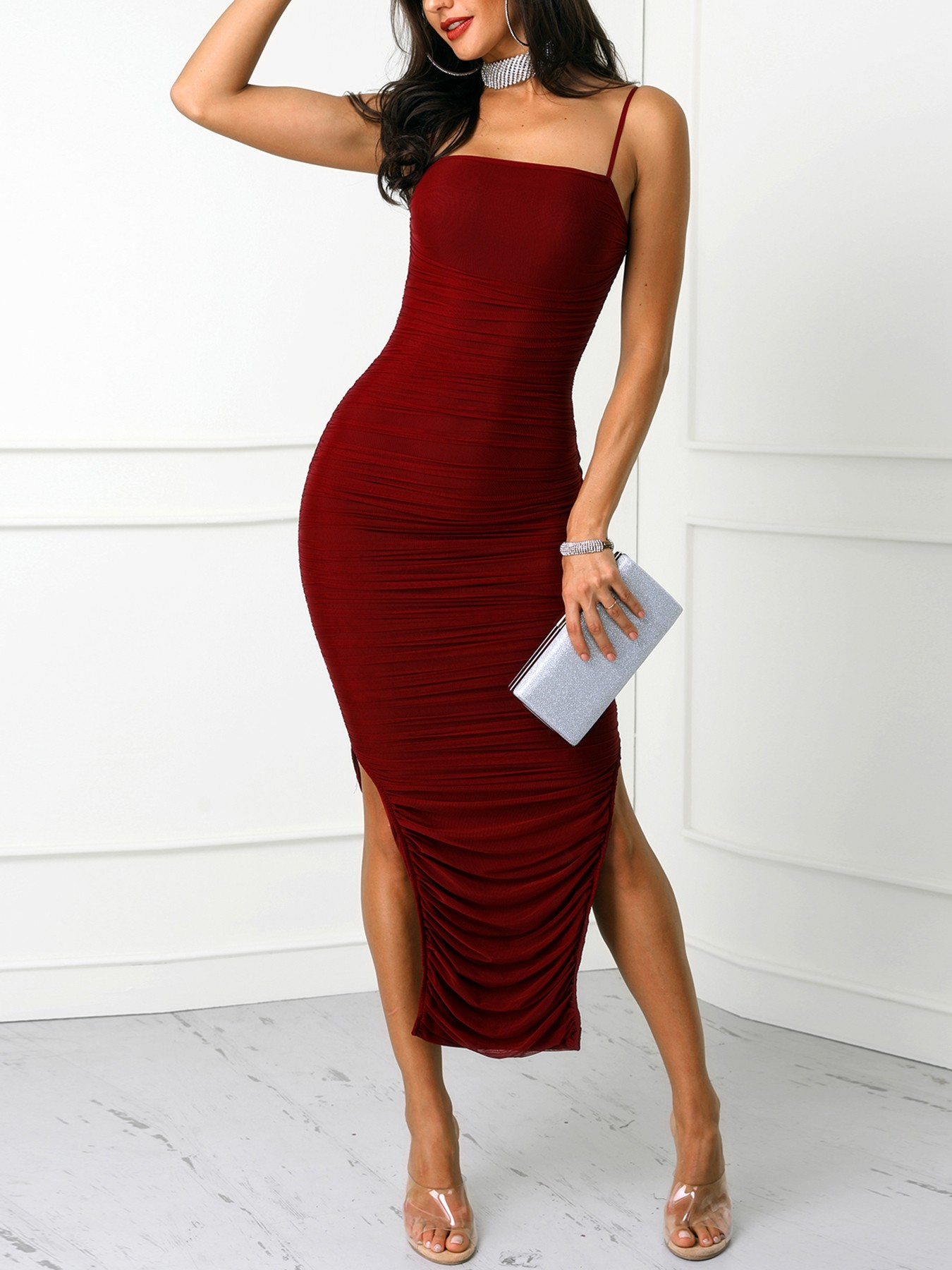 boutiquefeel / Spaghetti Strap Scrunched Side Slit Party Dress