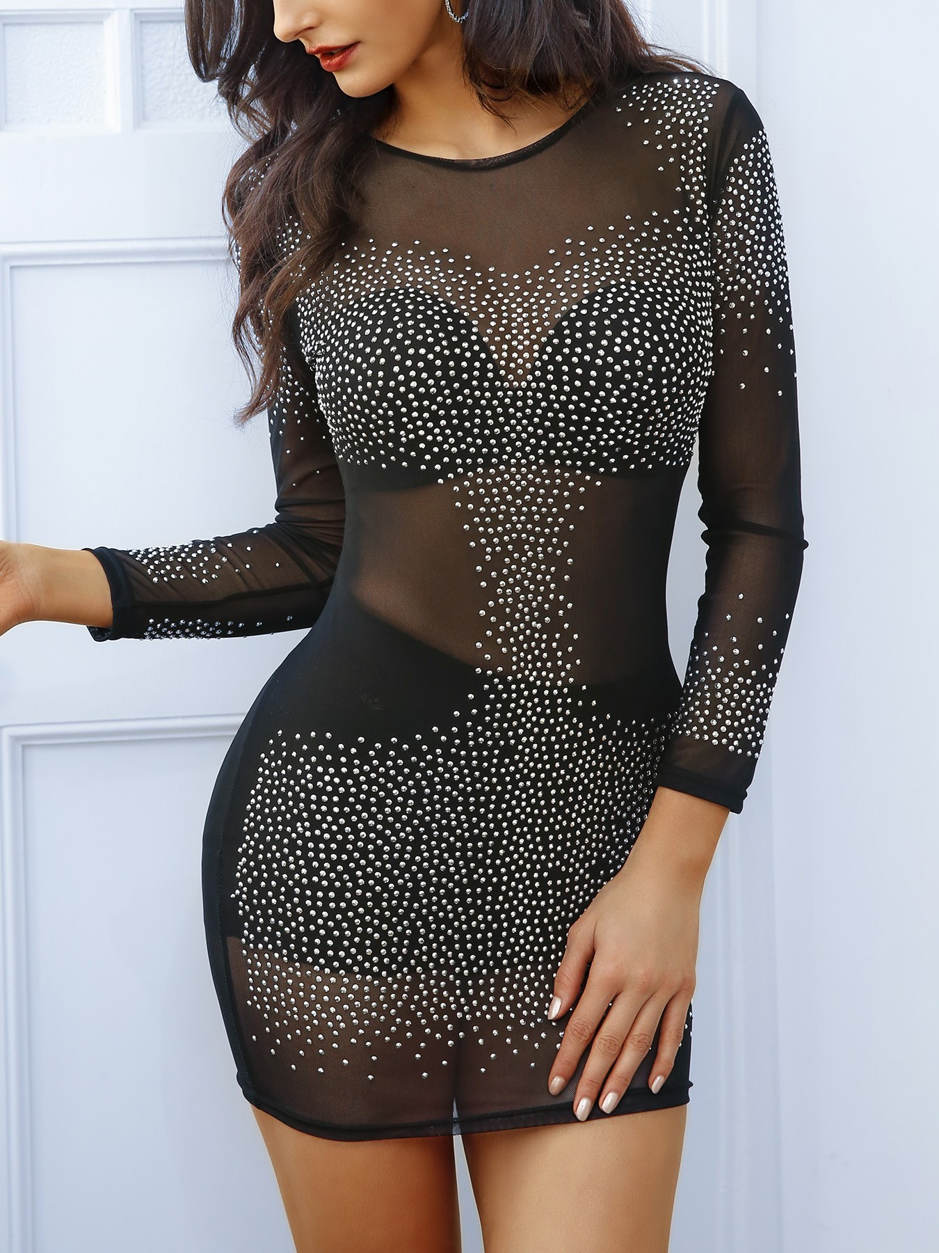 Glittering Sequins Bodycon Mini Dress