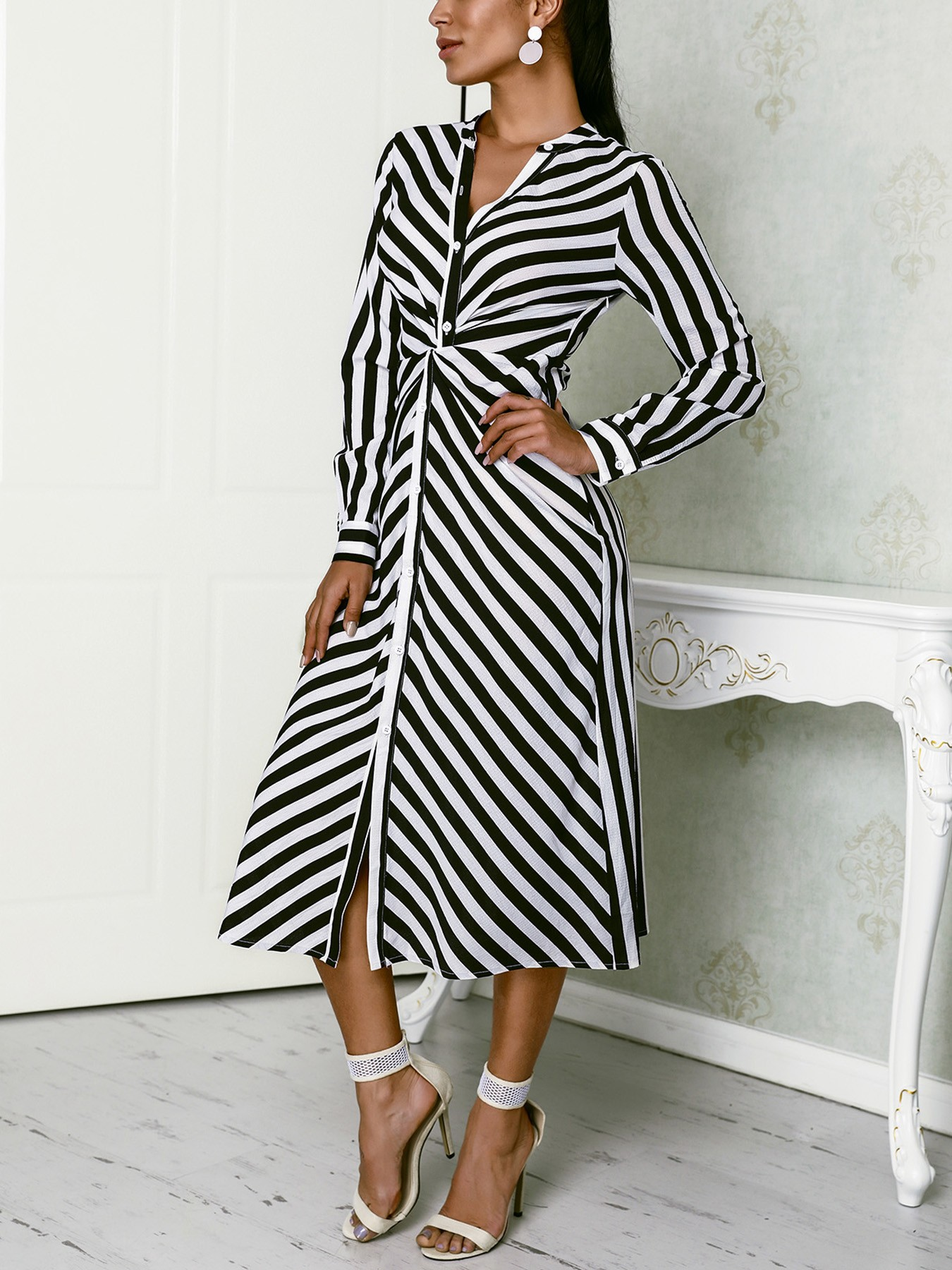 Contrast Stripes Button Up Ruched Shirt Dress