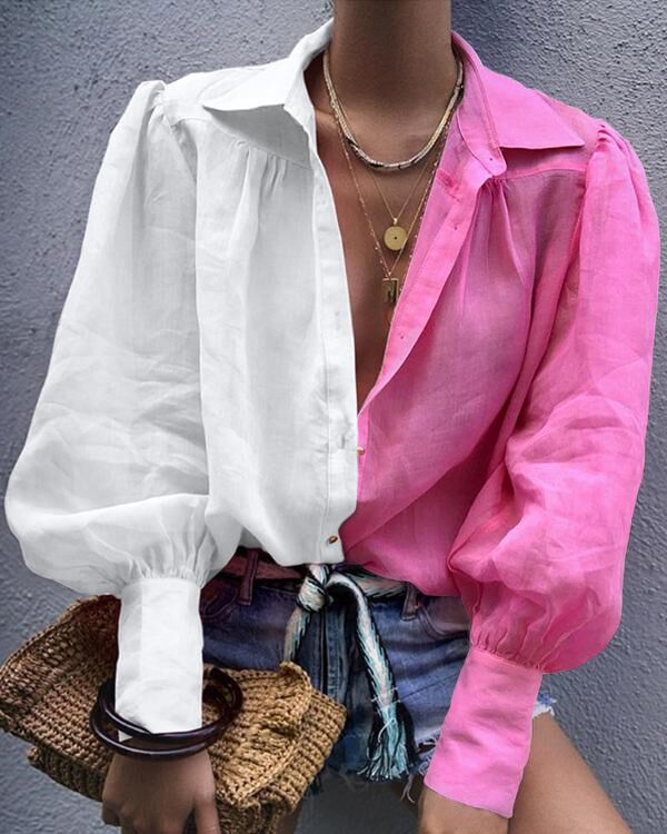Colorblock Lantern Sleeve Women Blouse thumbnail