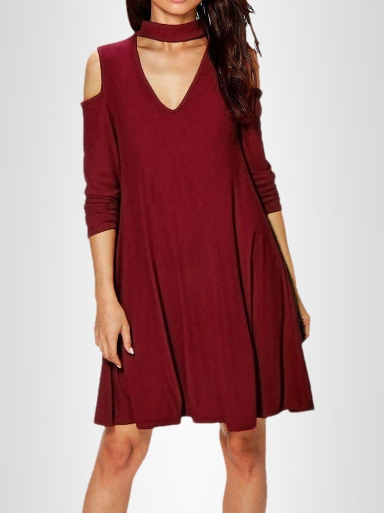Autumn Long Sleeve Cold Shoulder Chocker Casual Dress