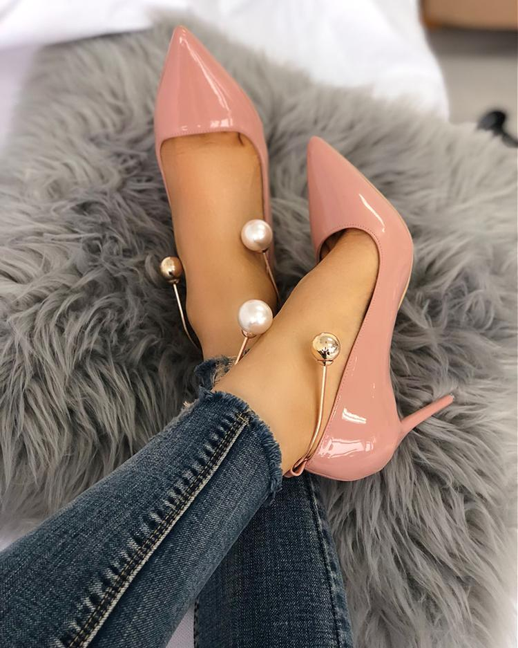 Stylish Beading Decorated Pointed Toe Thin Pumps by Chic Me