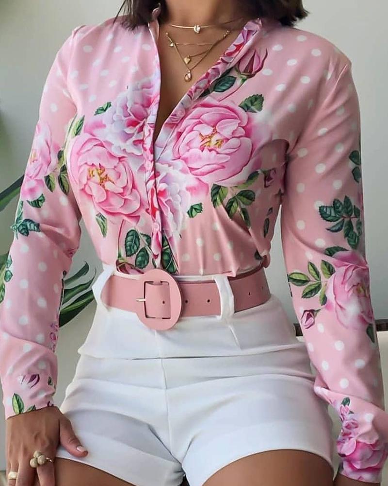 Floral Dot Print Button Design Long Sleeve Shirt thumbnail