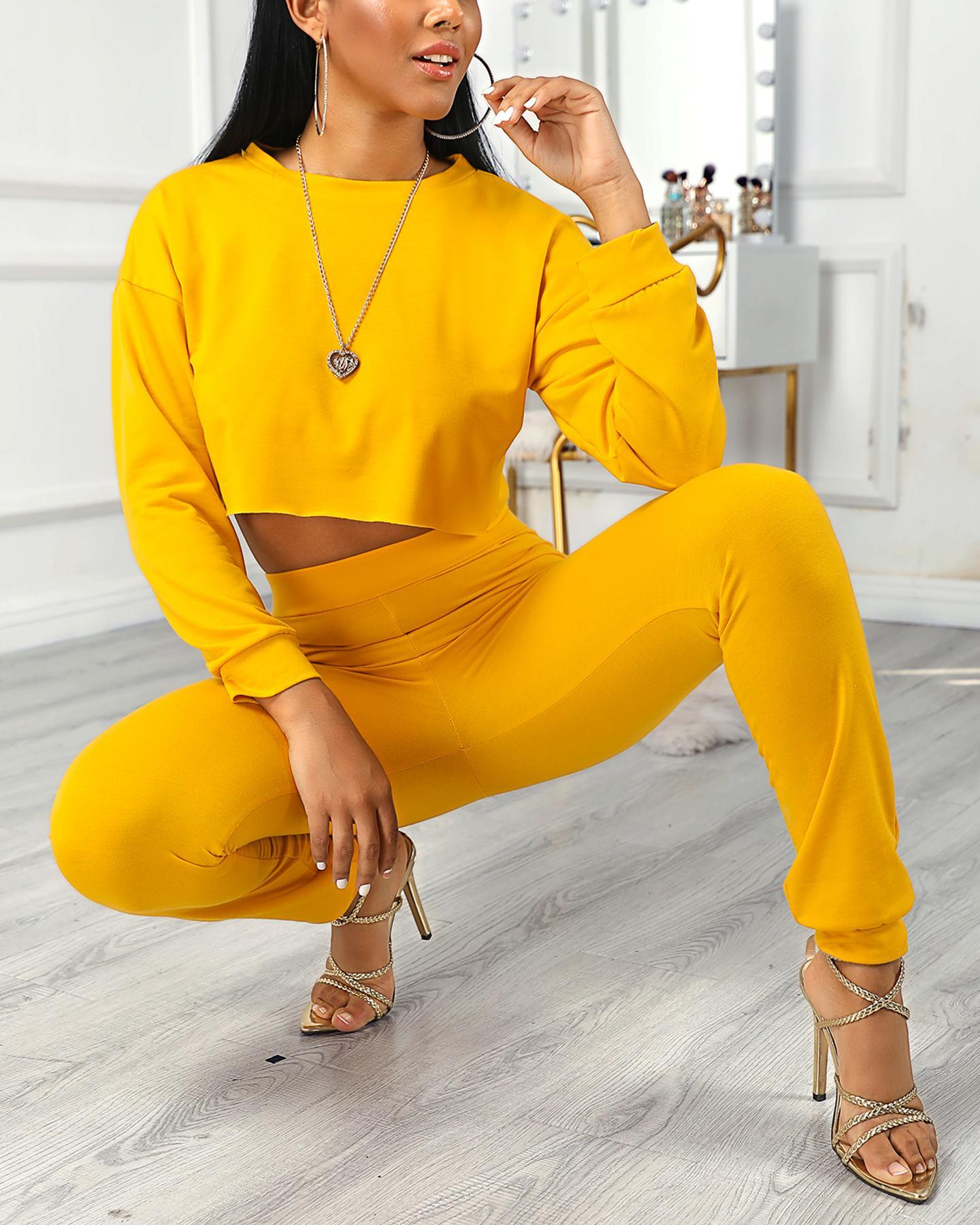 ivrose / Frill Hem Crop Women Top & Pocket Design Pants Sets