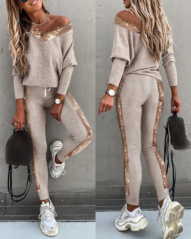 Sequins Long Sleeve Top & High Waist Pants Set thumbnail