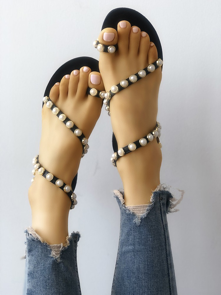 Beading Decorated Toe Ring Flat Sandals