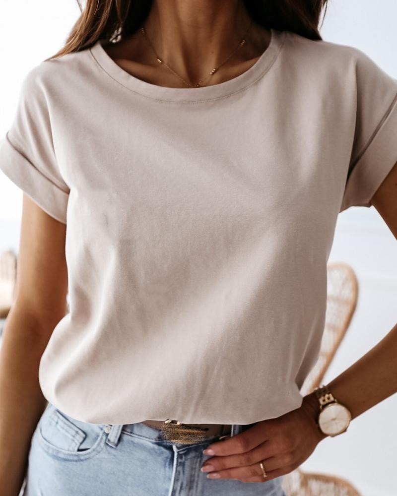 Solid Round Neck Casual T-shirt thumbnail